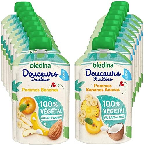 Blédina, Gourdes Fruits Bébé 100% Végétal, Dès 6 mois, Pommes Bananes / Pommes Bananes Ananas, 16x90g