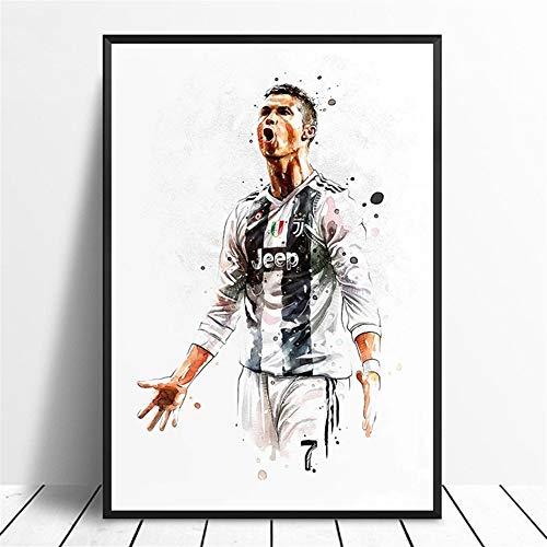ZNLEY.O Cristiano Ronaldo Fußball Star Poster Original Aquarellgemälde Wandkunst Home Decor Leinwanddruck zum Aufhängen Gemälde, canvas, 60 x 90 cm