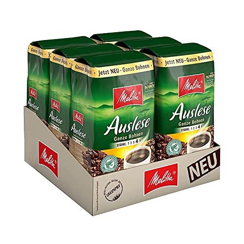 Melitta Kaffeebohnen für Filterkaffee, kräftig mit rundem Aroma, Stärke 4, Auslese Ganze Bohne, 6er Pack (6 x 500 g)