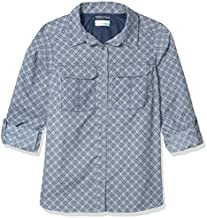 Columbia Pilsner Peak Novelty Long Sleeve Shirt, Collegiate Navy Woven Grid, Large