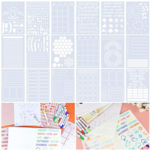 Xgood 18 Pieces Stencil Set for Dotted Journals Painting Stencil Set, Plastic Template Journal Stencil Set for Journaling Scrapbook Notebook Drawing