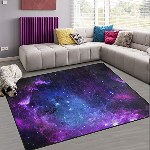 Naanle Galaxy Universe Space Non Slip Area Rug for Living Dinning Room Bedroom Kitchen, 50 x 80 cm(1.7' x 2.6' ft), Galaxy Purple Nursery Rug Floor Carpet Yoga Mat