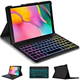 IVSO Beleuchtete Tastatur Hülle für Samsung Galaxy Tab A T515/T510 10.1 2019, [QWERTZ Deutsches] Bluetooth Abnehmbar Tastatur, 7 Farben Backlight, 3 Zonen, Willkürlich DIY, Schwarz