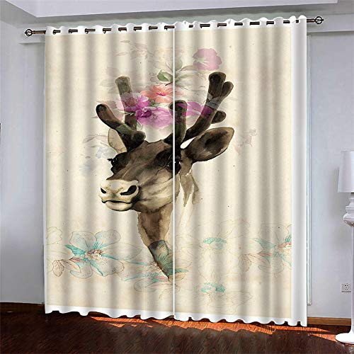 YUNSW Art Elk Flowers 3D Digital Printing Polyester With Eye Curtains Garden Living Room Balcony Bedroom Window Decoration Blackout Curtains 2 Piece Set