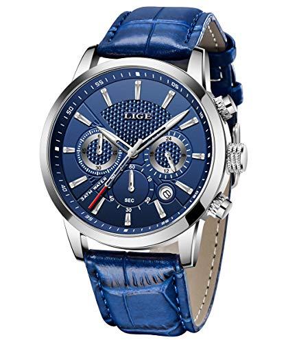 LIGE Herren Uhren Elegant Sport Wasserdicht Militäruhr Männer Multifunktions Chronograph Quarz Silber Armbanduhren Kalender mit Blau Leder Armband