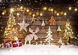 AIIKES 2.1Mx1.5M/7x5FT Árbol de Navidad De Madera Tablero Estrella Ciervo Bebé Fondos de Fotografía Personalizado Telones de Fondo Fotográficos Para Estudio Fotográfico 10-822