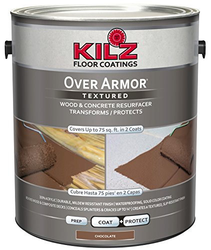 KILZ Over Armor Textured Wood/Concrete Coating, 1 gallon, Chocolate Brown