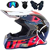 KIVEM Casco de Moto Casco de Motocross Profesional, Casco de Cross, MTB, Casco de Motocicleta Infantil con Gafas/Guantes/Máscara,Adultos Niños Quad Bike ATV MTB BMX Go-Kart-Helm - UFO Negro,XL