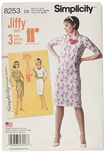 Simplicity Muster 8253D5Schnittmuster Vintage 1960's Jiffy Kleider, Weiß, Größen 4–6–8–10–12