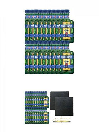 Becherovka Karlsbader Kräuterbitter 20 x 0,05 Liter Miniaturen + Becherovka Karlsbader Kräuterbitter 20 x 0,05 Liter Miniaturen + Schiefer Glasuntersetzer eckig ca. 9,5 cm Ø 2 Stück
