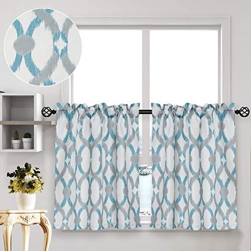 "oremila Tier Curtains for Kitchen Windows Geometric café Curtains, 27"" x 36"" Multi-Color Geometric Printed Half Window Curtain Set for Bathroom, Rod Pocket, 1 Pair, Teal/Gray"