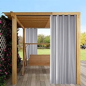 Mingfuxin Cortinas al aire libre, 1 panel de jardín patio cenador protector solar, cortinas opacas impermeables y térmicas con ojales para porche Cabana Dock