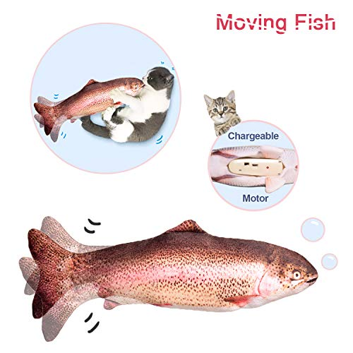 Potaroma 10quot Moving Fish Cat Toy Electric Cat Kicker Toy Realistic Flopping Fish Wiggle Fish Catnip Toys Motion Activated Kitten Toy Plush Interactive Cat Toys Kitty Toy for Cat Exercise
