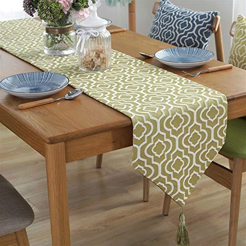 Ommda Chemin de Table Galopin Lavable Motif Rayures Nappe de Table avec Un Pompon pour Maison Décorations,Vert Herbe,Gras-Grün