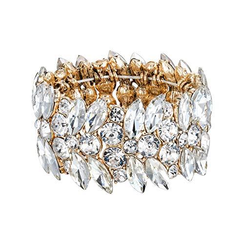 Bracelete Feminino Ever Faith Elástico Marquesa Cristal Art Deco Corrente de Mão Casamento Noiva Joia Branco