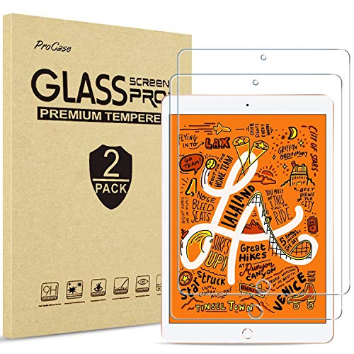"ProCase iPad Mini 4th and 5th Screen Protector, Tempered Glass Screen Film Guard Screen Protector for 7.9"" Apple iPad Mini 5 2019 / iPad Mini 4 2015-2 Pack"