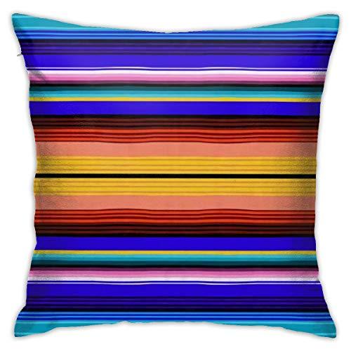 Antvinoler - Funda de almohada con diseño de rayas mexicanas, cuadrada, 45 cm y 45 cm