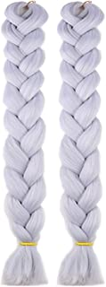 NATURAL BEAUTY 2Pcs/Lot 165g/Pcs Folded Length 41 Inch Synthetic Fiber Ombre Jumbo Braids Hair Extensions High Temperature Crochet Twist Braiding Hair Extension for Women Silver Grey