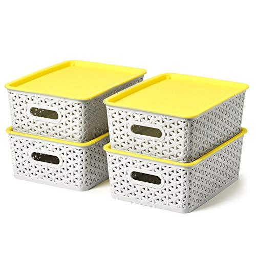 EZOWare Set de 4 Cestas de Almacenaje Multiuso con Tapas, Cajas Organizadoras de Plástico Apilable con Efecto de Mimbre y Asas para Cocina, Baño - Gris Claro y Amarillo, 26 x 20 x 10 cm