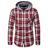 KUDICO Sudadera con capucha para hombre, estilo casual, otoño, invierno, con botones, a cuadros, color negro, rojo, M-XXL