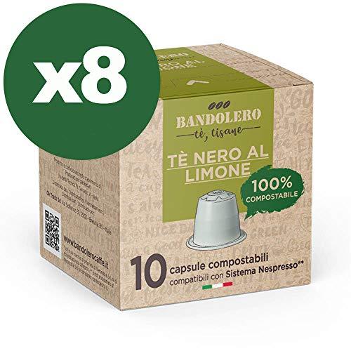 BANDOLERO 100{f8b7a781ca0fefbad1d6734a1bd8b5ef3550c6bf167685cac1501010c8fb232c} Compostable Made in Italy, 80 Cápsulas Compatibles con Nespresso, Té Negro con Limón del Cultivo Ecosostenible, Aroma Inconfundible para Cafetera Nespresso