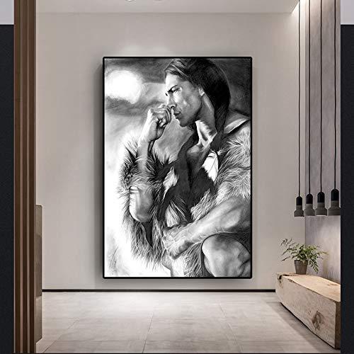Zwart-wit-Indiase Uinwonen canvas schilderij poster en druk Scandinavisch muur woonkamer afbeelding zonder lijst