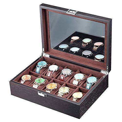XXCHUIJU Black Watch Box Organizer, 10 tragamonedas Reloj Funda para Hombre, Mueble de exhibición de Reloj de Lujo con Ventana de Vidrio Grande, Forro de Terciopelo SOFE