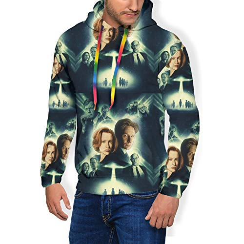 Huatansy Men Sport Hoodie Sweater The X-Files Novelty Hooded Long Sleeve With Brushed Black