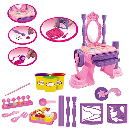 Buy Basde Child Makeup Table Pretend Play Toys, Creative Dressing Table Colorful Mud Set Children's ...