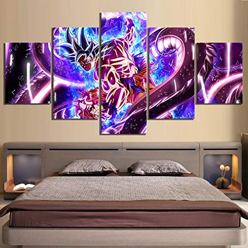 Leinwand Wandkunst, 5 Stück Dragon Ball Ultra-Instinct Goku Abbildung Anime Poster Leinwandgemälde Wand-Kunst for Hauptdekor (Size (Inch) : Size 2)