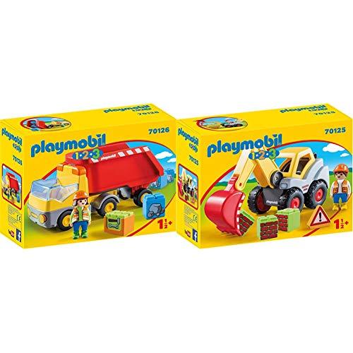 PLAYMOBIL 123 Camión de Construcción + 70125 123 Pala Excavadora, Multicolor, Talla Única (70125), Color/Modelo Surtido