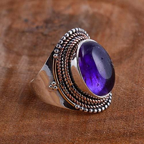 Gemstone Ring Natural Amethys Ring 925 Silver Plated Amethyst Ring Amethyst Jewelry Gemstone Jewelry Silver Ring Brushed Ring