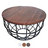 casamia Couchtisch Wohnzimmer-Tisch rund Beistelltisch Lexington ø 55 cm Metall Drahtgestell Gitter massiv Color braun - Bassano