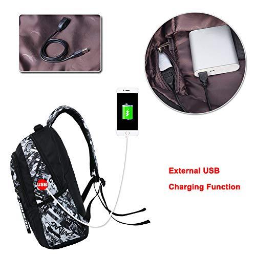 514yRkUoSnL - UMYMAYDO1 DJ Luminous Mochila, Unisex Schoolbag Mochila para portátil Bolsa Fresca para Adolescentes con USB Puerto…