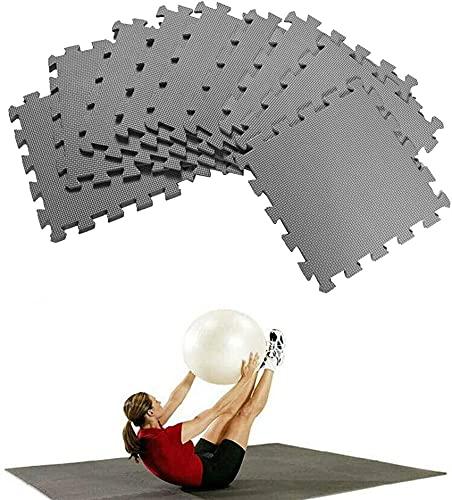 Azulejos de espuma de grano de hoja 10 piezas 30 cm x 30 cm Antideslizante Estera sin espacios Estera de yoga Baldosas entrelazadas Cojín protector para el piso Entrenamiento en la habitació