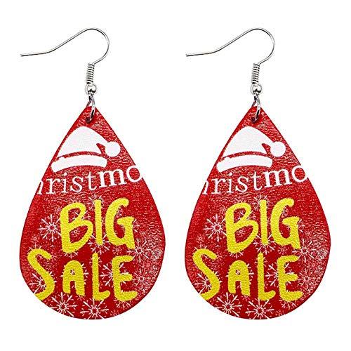 Janly Clearance Sale Pendientes de Papá Noel muñeco de nieve de Navidad de cuero adornos navideños, pendientes para decoración de Navidad 2020 (A)