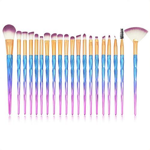 Pinceau de Maquillage 20 pcs/Ensemble Diamant Poignée Maquillage pour Les Yeux Brosse Set Spirale Sourcils Fondation Eyeliner Brosses Maquillage Pinceaux (Color : Bleu foncé, Size : One Size)