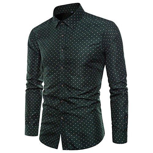 FAMILIZO Camisas Hombre Manga Larga Slim Fit Camisas Hombre Lino Camisas Hombre Originales Negocio Tops Blusa Hombre Blanca Otoño Business Casual Formal Slim Button-Down Lunares