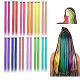24 extensiones de colores con clip para niñas, extensiones de pelo largo...