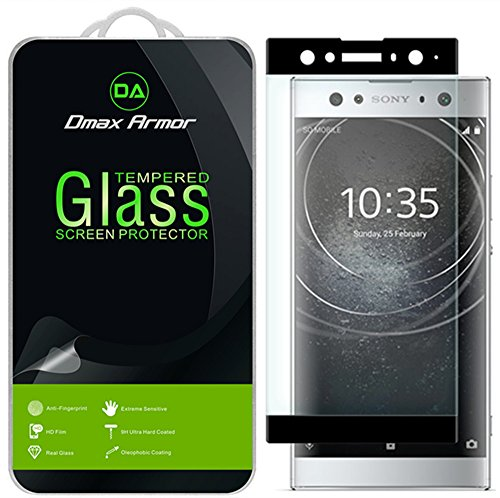 Dmax Armor for Sony Xperia XA2 Ultra Screen Protector, (Full Screen Coverage) [Tempered Glass] Anti-Scratch, Anti-Fingerprint, Bubble Free, (Black)
