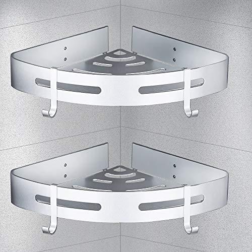 LingYe - Estantería de ducha para baño, cocina, organizador de esquina, cesta de ducha de acero inoxidable 304 (triángulo, plateado, 2 unidades)