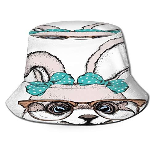 PUIO Sombrero de Pesca,Gafas Conejito con Arco Hermoso Ilustración Vectorial,Senderismo para Hombres y Mujeres al Aire Libre Sombrero de Cubo Sombrero para el Sol