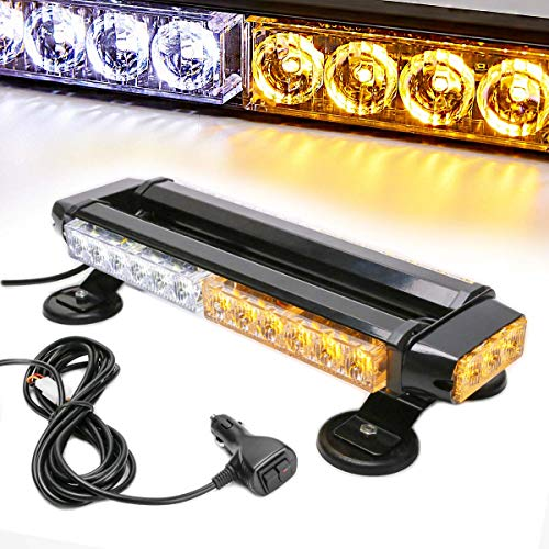 LE-JX Amber/White 30 LEDs Safety Strobe Flashing Light Bar Double Side High Intensity Roof Top Plow Flash Traffic Advisor Emergency Hazard Warning Lighting Mini Beacon with Magnetic Base (Yellow,30W)