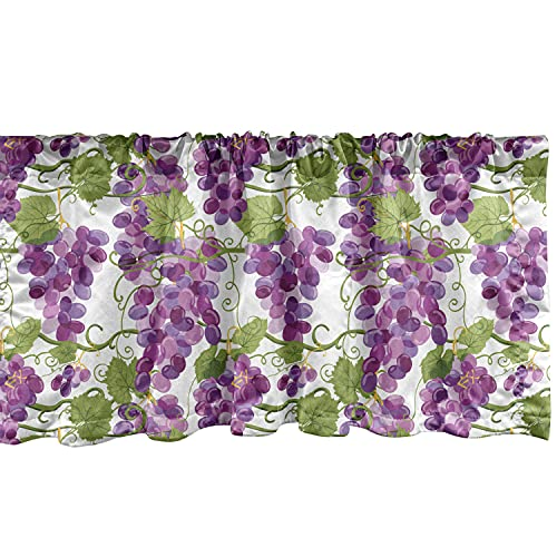 """Lunarable Grape Window Valance, Vineyard Concept with Violet Tone Ripe Fresh Grapes Organic Viticulture, Curtain Valance for Kitchen Bedroom Decor with Rod Pocket, 54"""" X 12"""", Violet Purple and Green"""