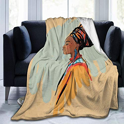 FULIYA Flannel Blanket Lightweight Super Soft,Watercolor Profile Portrait Of Native Woman With Ethnic Hairdo And Earrings,Blanket With Soft Anti-pilling Flannel For Adults & Kids 3D Print 60'x50'