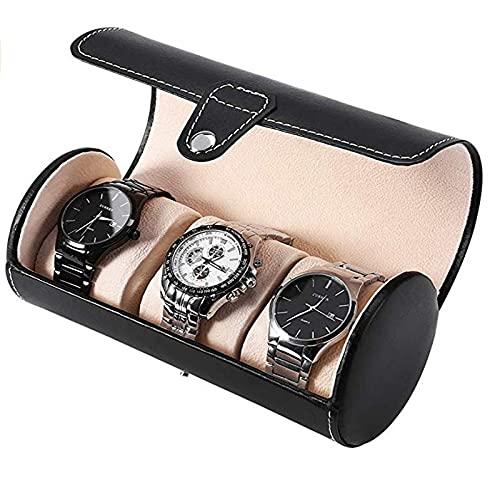 BICCQ Caja de Reloj Caja de Reloj PU Cuero 3 Slots Cilindro Caja de Reloj de Gama Alta portátil Reloj de joyería de Viaje Reloj de Almacenamiento Caja de Reloj (Color : A)