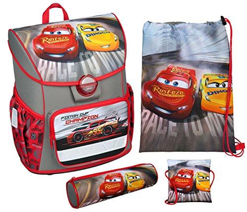 Scooli CAAD8371 - Schulranzen mit Schuhbeutel, Brustbeutel und Schlamperetui, leicht, ergonomisch, Disney Pixar Cars, 4 teilig
