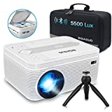 BIGASUO Mini Bluetooth Projector with DVD Player, 5500 Lumens Portable Video Projector 720P