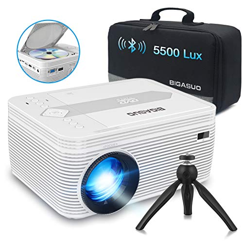 BIGASUO [2021 Upgrade] Bluetooth Full HD Projector with DVD Player, 5500 Lux Portable Video Projector 720P Native 1080P Supported Compatible with iPhone/iPad/HDMI/VGA/SD/USB/AV for Home Theater