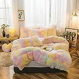MorroMorn 5 PCS Shaggy Duvet Cover Bedding Set - Long Faux Fur Luxury Ultra Soft (Full/Queen, Ice Cream)